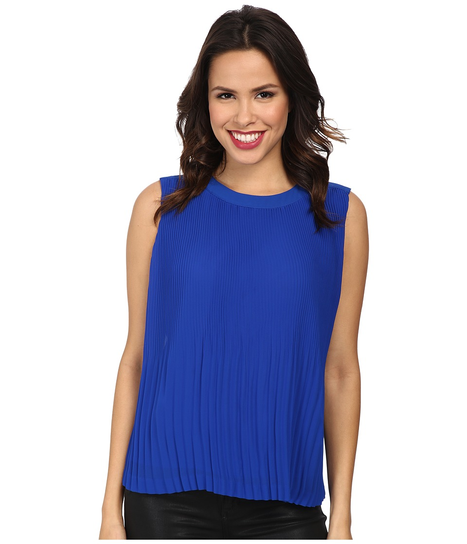 Vince Camuto - Short Sleeve Pleated Shell (Bright Blue) Women