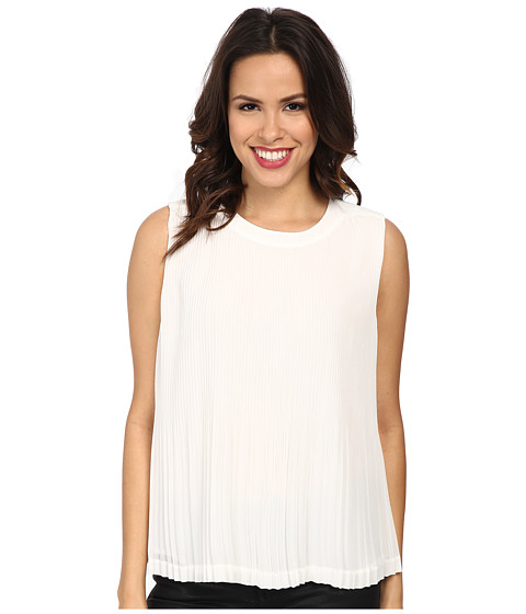 Vince Camuto - Short Sleeve Pleated Shell (New Ivory) Women