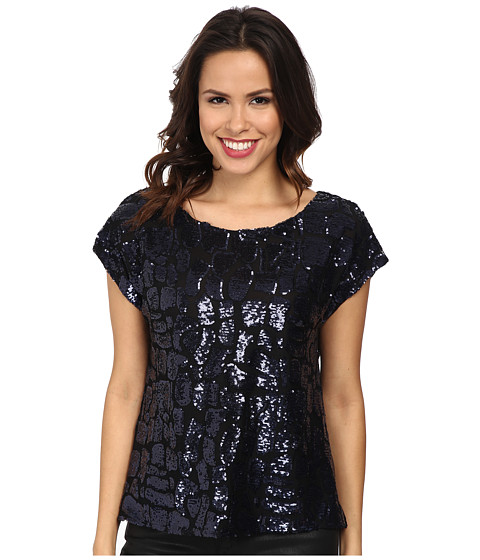 Vince Camuto - Geo Sequins Blouse (Rich Black) Women's Blouse