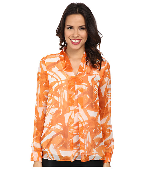 Vince Camuto - Long Sleeve V Blouse w/ Inverted Front Pleat (Orange Burst) Women