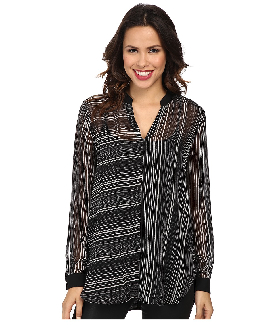 Vince Camuto - Long Sleeve Linear Stripe Front Seam Blouse (Rich Black) Women's Blouse