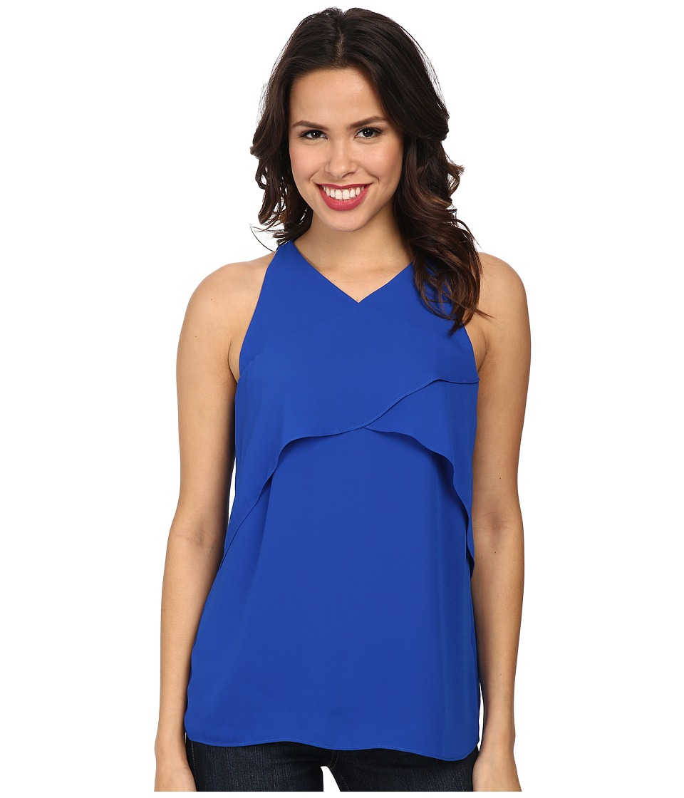 Vince Camuto - Short Sleeve Crossed Layered Front Blouse (Bright Blue) Women
