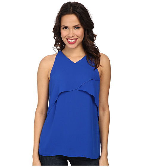 Vince Camuto - Short Sleeve Crossed Layered Front Blouse (Bright Blue) Women's Blouse