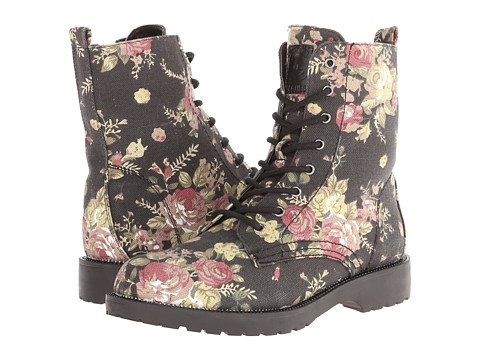 G by GUESS - Silvia3 (Black Floral) Women's Lace-up Boots