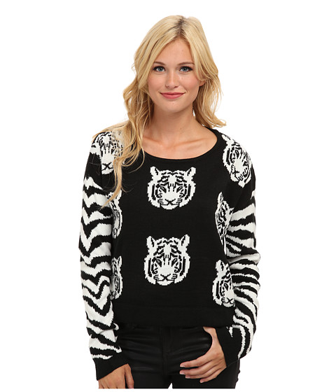 MINKPINK - Tiger Time Knit Jumper (Black/White) Women's Sweater