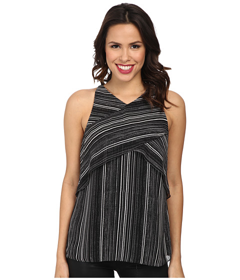 Vince Camuto - Short Sleeve Linear Stripe Crossed Layered Blouse (Rich Black) Women's Blouse