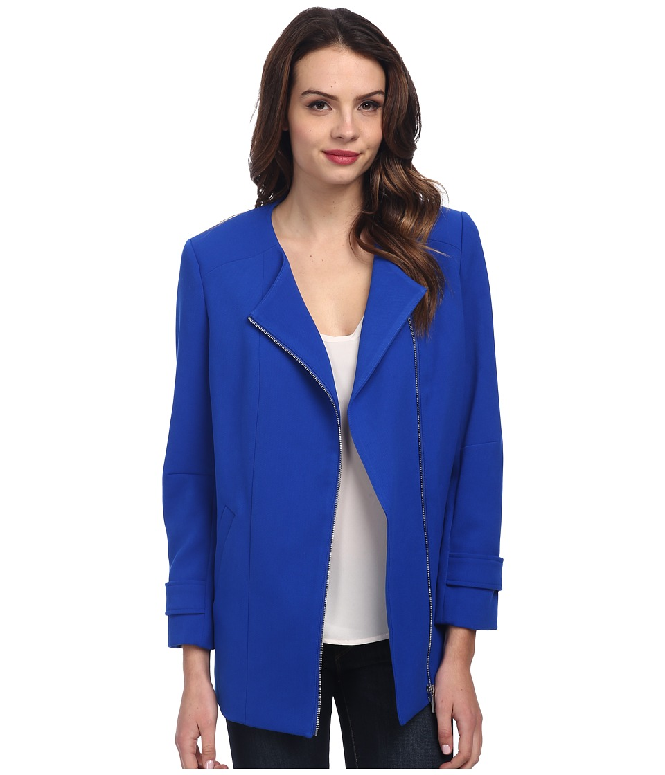 Vince Camuto - Collarless Asymmetrical Zip Coat (Bright Blue) Women