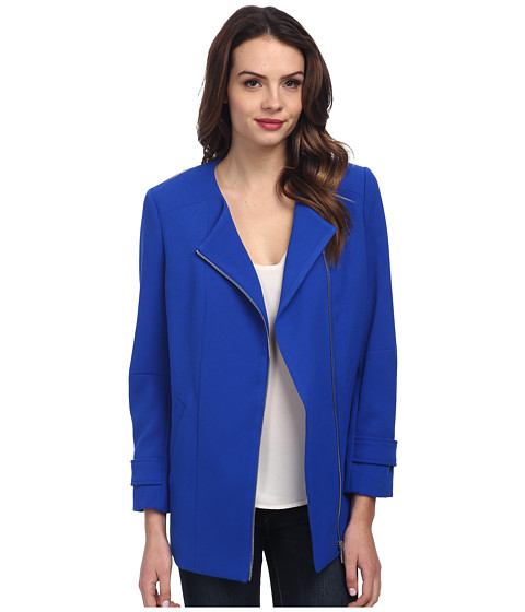 Vince Camuto - Collarless Asymmetrical Zip Coat (Bright Blue) Women