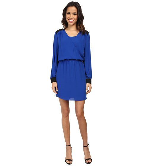 Vince Camuto - Long Sleeve Color Block Wrap Front Dress (Bright Blue) Women