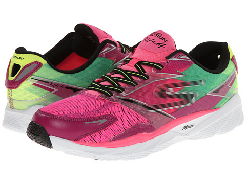 SKECHERS - GO Run Ride 4 (Pink/Lime) Women's Classic Shoes