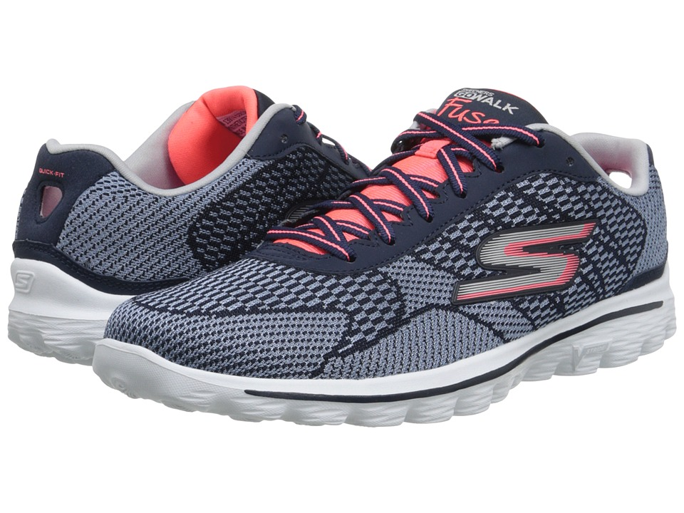 SKECHERS Performance - GO Walk 2 - Fuse (Navy/Coral) Women
