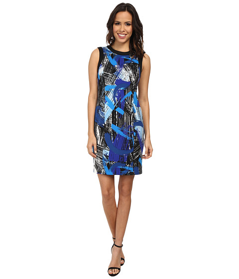 Vince Camuto - Short Sleeve Back Zip Bold Brushstrokes Dress (Bright Blue) Women's Dress