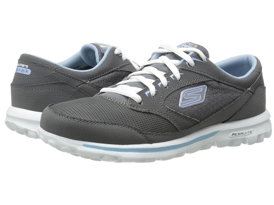 SKECHERS Performance - Go Walk- Rocket (Charcoal/Blue) Women's Slip on Shoes
