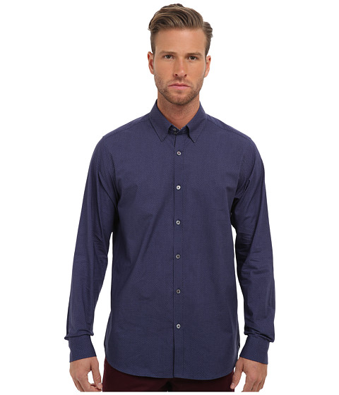 Ted Baker - Microb L/S Microprint Shirt (Navy) Men's Long Sleeve Button Up