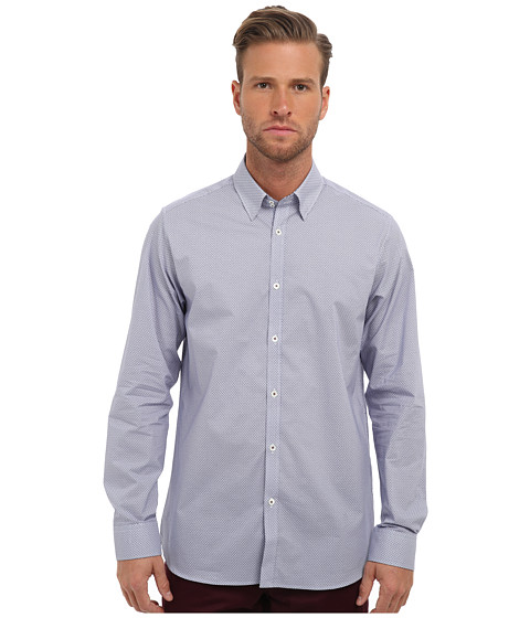 Ted Baker - Microb L/S Microprint Shirt (Blue) Men's Long Sleeve Button Up