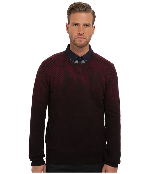Ted Baker - Carlow Dip Dye L/S Crew Neck (Dark Red) Men's Long Sleeve Pullover
