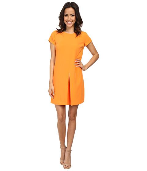 Vince Camuto - Cap Sleeve Front Pleat Dress (Orange Burst) Women