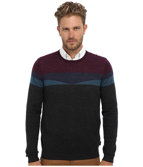 Ted Baker - Farlie Merino Geo L/S Crew Neck Sweater (Charcoal) Men