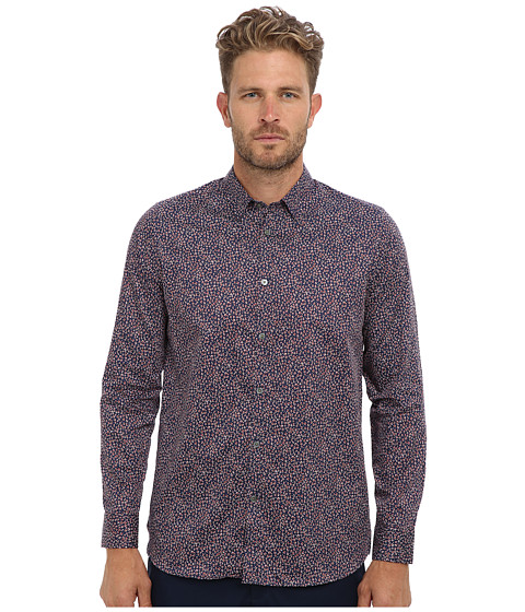 Ted Baker - Leojak L/S Interest Print Shirt (Red) Men's Long Sleeve Button Up