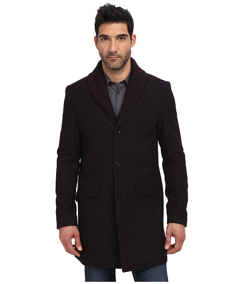Ted Baker - Balon Wool 3/4 Length Coat (Dark Red) Men