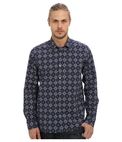 Ted Baker - Wow L/S Large Geo Print Shirt (Navy) Men's Long Sleeve Button Up
