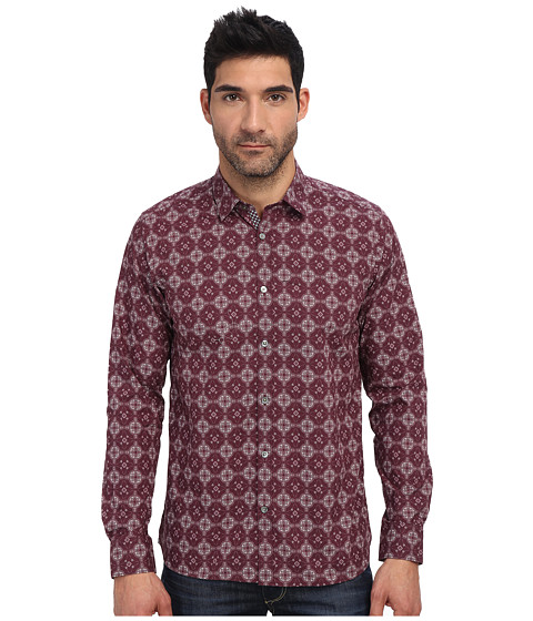 Ted Baker - Wow L/S Large Geo Print Shirt (Red) Men's Long Sleeve Button Up