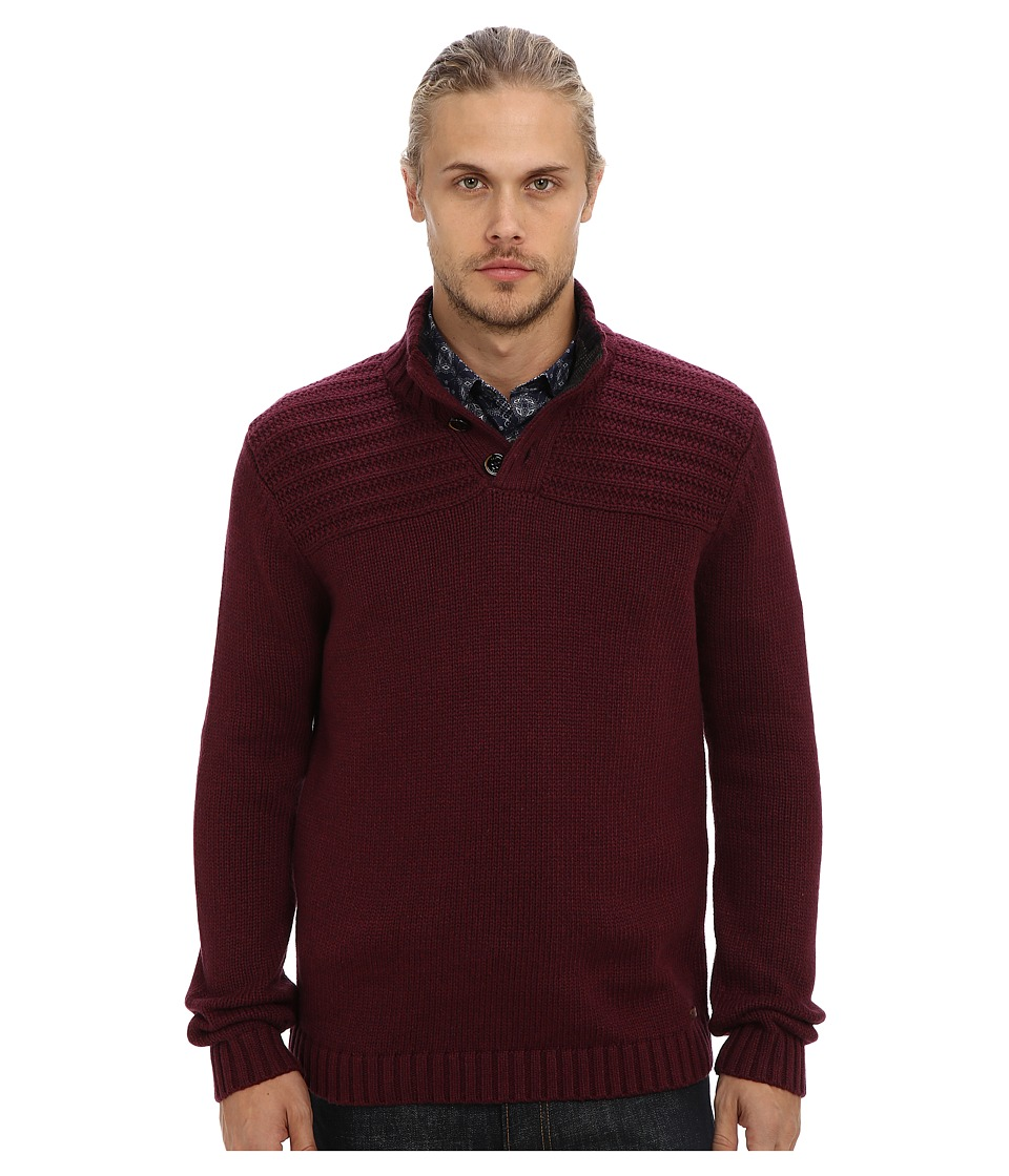 Ted Baker - Harston Stitch Detail L/S Funnel Neck (Dark Red) Men's Sweater