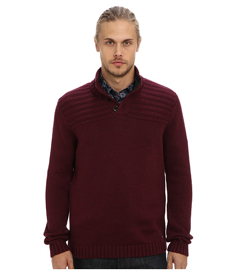Ted Baker - Harston Stitch Detail L/S Funnel Neck (Dark Red) Men