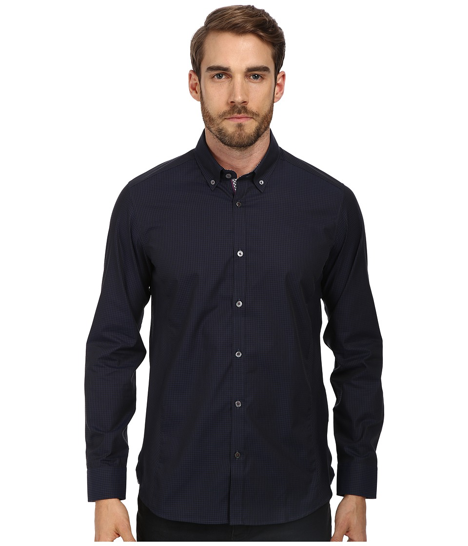 Ted Baker - Davinch L/S Dark Check Shirt (Navy) Men