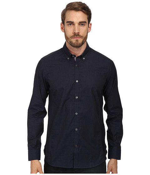 Ted Baker - Davinch L/S Dark Check Shirt (Navy) Men's T Shirt