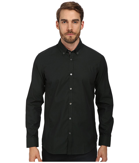 Ted Baker - Davinch L/S Dark Check Shirt (Green) Men's T Shirt