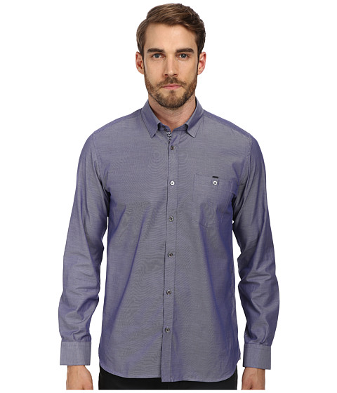 Ted Baker - Rueloff L/S Oxford Dobby Shirt (Navy) Men's Long Sleeve Button Up