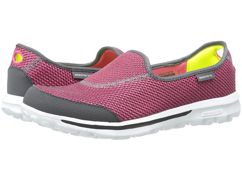 SKECHERS Performance - Go Walk - Rival (Charcoal/Pink) Women's Slip on Shoes