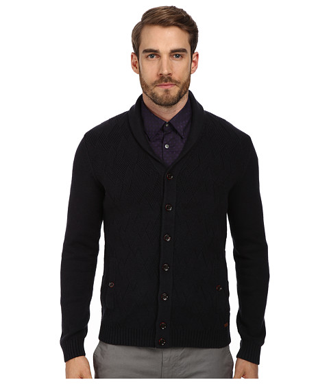 Ted Baker - Zigtop Zag Zag Stitch Shawl Cardi (Navy) Men