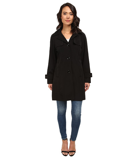 Calvin Klein - Single Breasted Swing Trench Coat CW343394 (Black) Women
