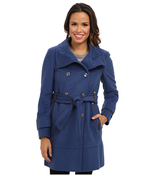 Calvin Klein - Double Breasted Belted Convertible Stand Collar Wool Trench Coat CW380770 (Cornflower) Women's Coat