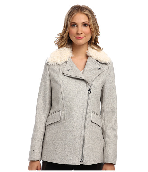 Calvin Klein - Asymmetrical Furry Melton Coat CW385215 (Light Grey) Women's Coat