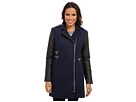 Calvin Klein Asymmetrical Zip Boucle Coat w/ Faux Leather Sleeves CW351052