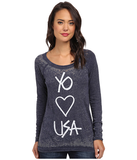 Chaser - Yo Heart USA Triblend L/S Deconstructed Back Tee (Sapphire) Women's Long Sleeve Pullover