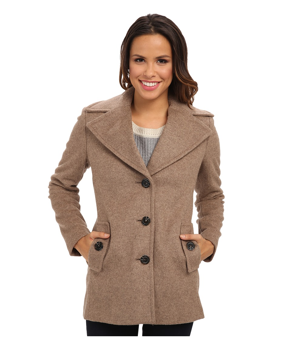 Calvin Klein - Single Breasted Wool Blend Peacoat CW387007 (Oatmeal) Women