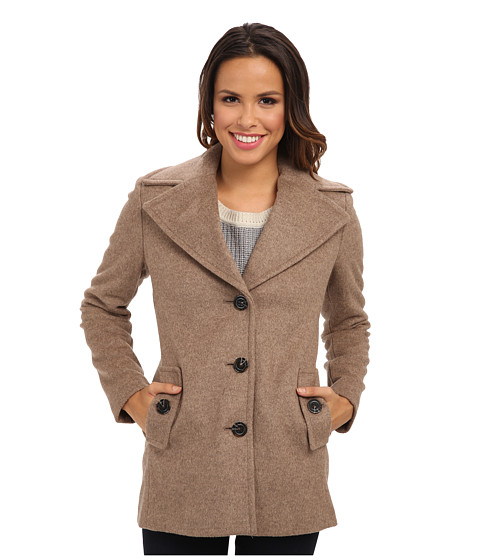 Calvin Klein - Single Breasted Wool Blend Peacoat CW387007 (Oatmeal) Women's Jacket