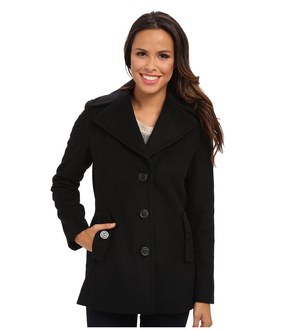 Calvin Klein - Single Breasted Wool Blend Peacoat CW387007 (Black) Women's Jacket