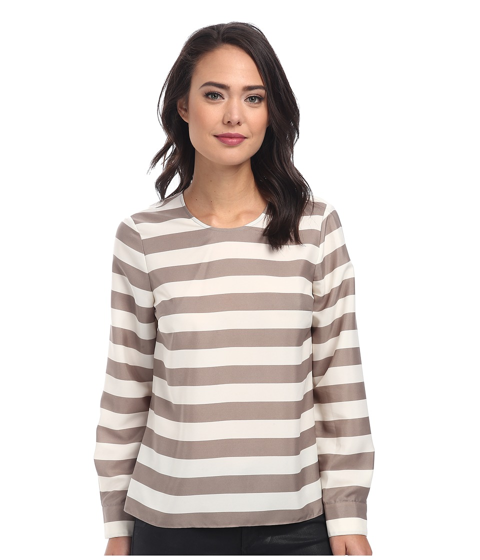 Vince Camuto - Long Sleeve Crew Neck Micro Bold Stripe Blouse (White Clay) Women