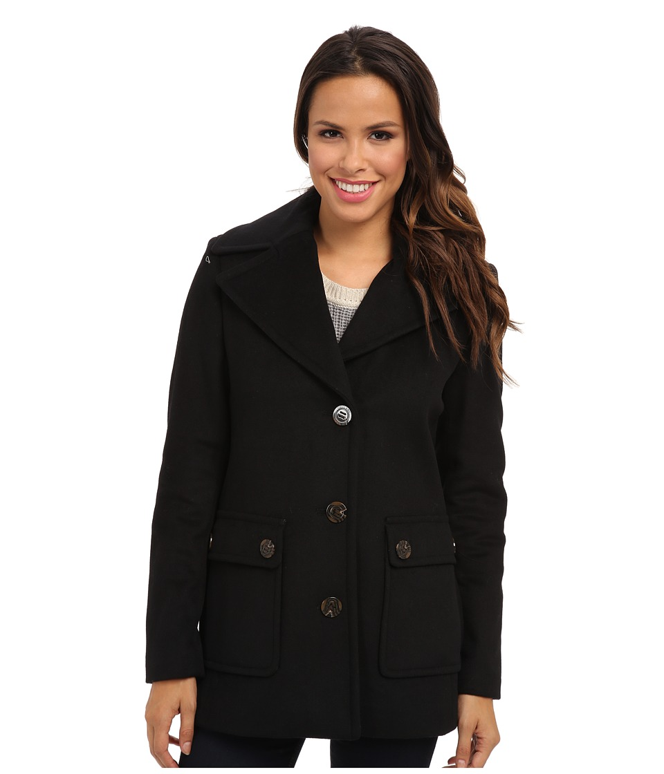 Calvin Klein - Single Breasted Wool Blend Peacoat CW38765 (Black) Women