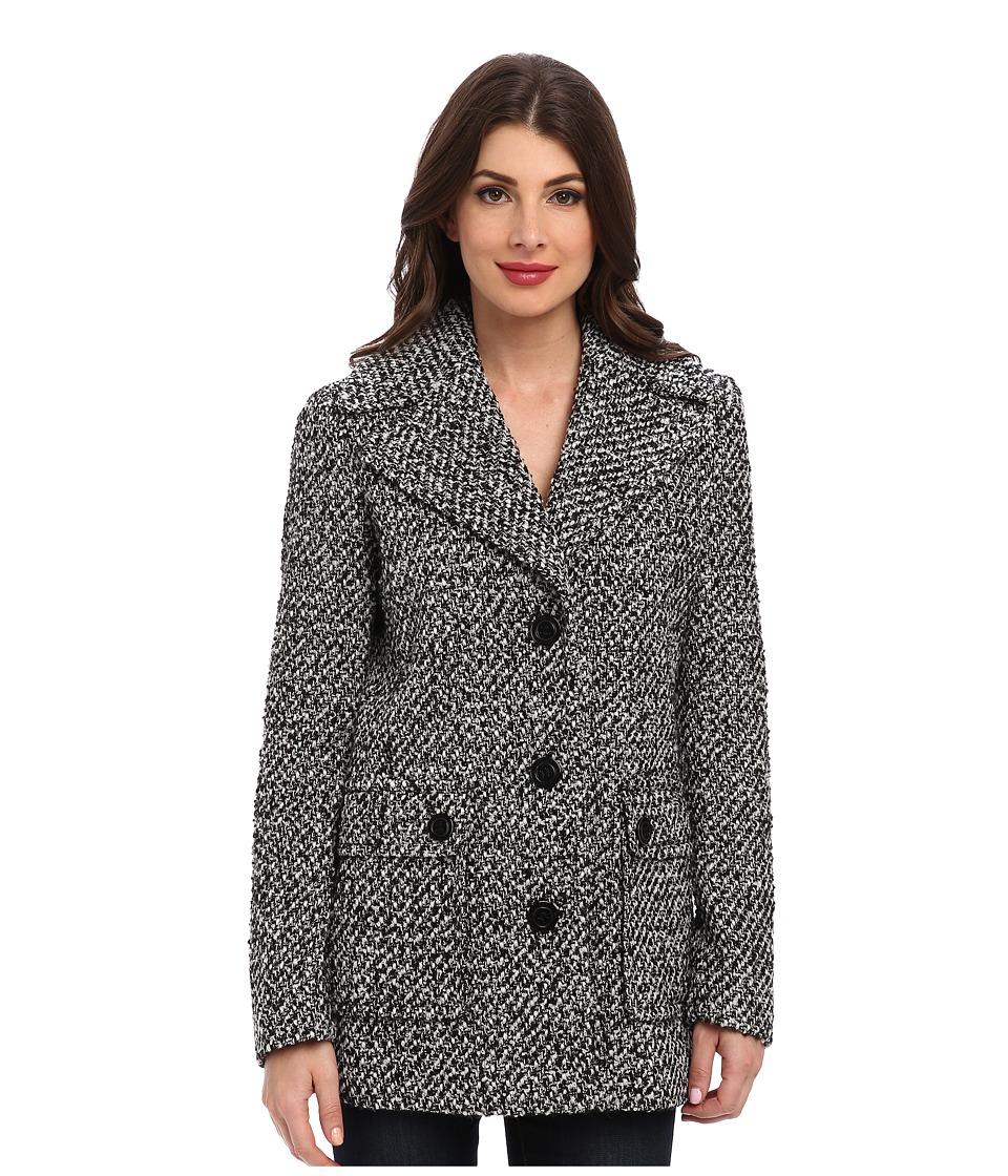 Calvin Klein - Single Breasted Wool Blend Peacoat CW38765 (White/Black 1) Women's Jacket