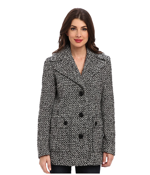 Calvin Klein - Single Breasted Wool Blend Peacoat CW38765 (White/Black 1) Women's Jacket