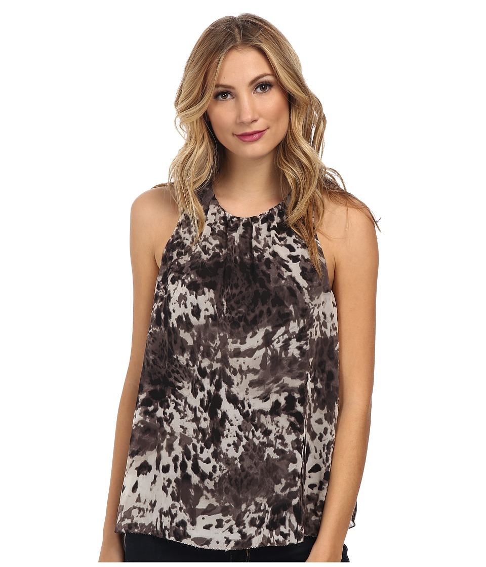 Vince Camuto - Animal Terrain Short Sleeve Blouse (Mink) Women's Short Sleeve Pullover