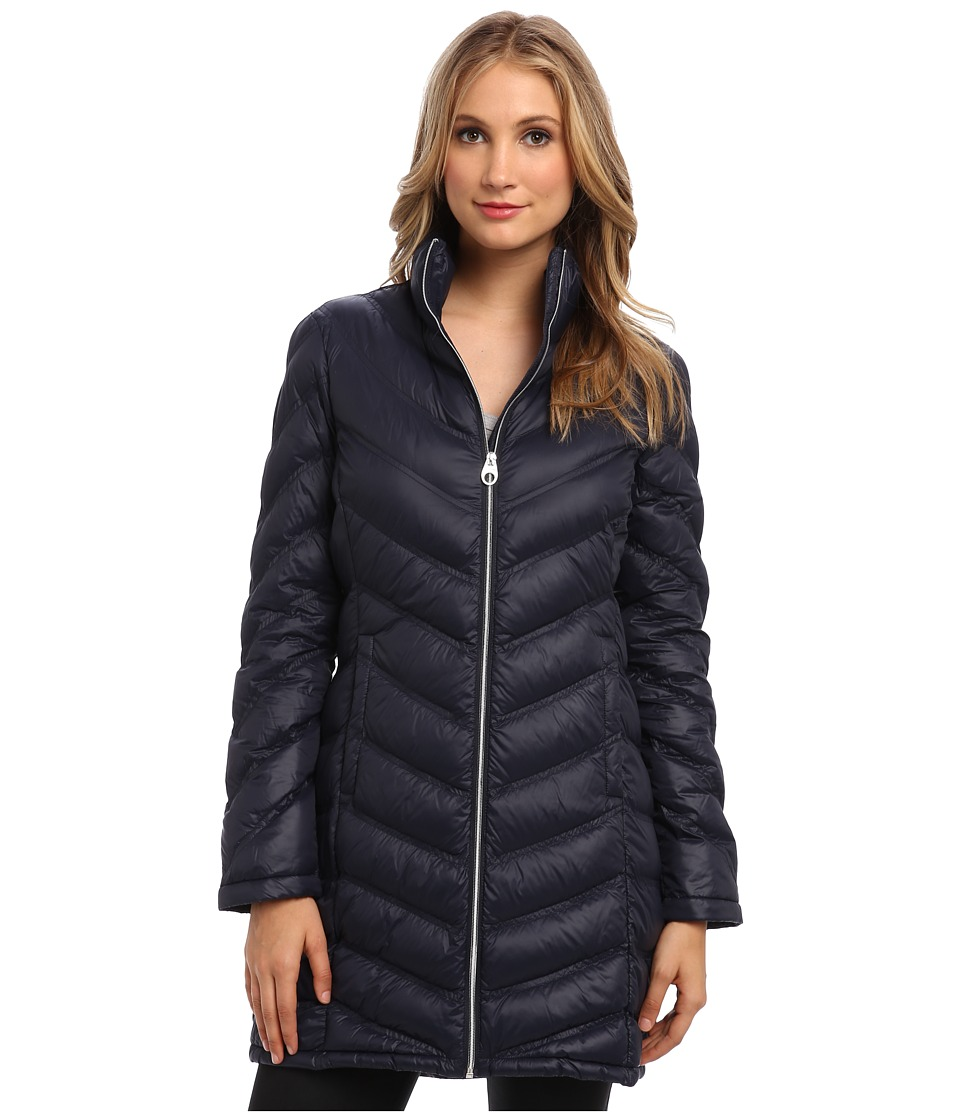 Calvin Klein - Zip Front Long Packable Down Jacket CW312100 (Navy) Women's Jacket