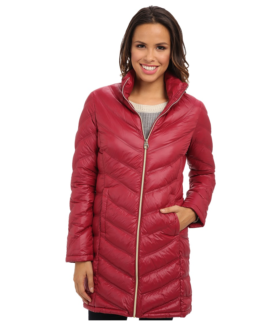 Calvin Klein - Zip Front Long Packable Down Jacket CW312100 (Ruby Red) Women's Jacket