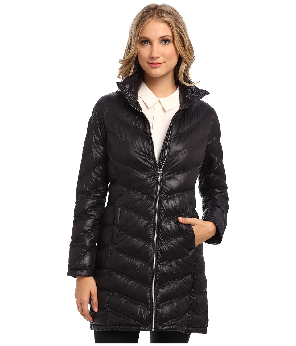 Calvin Klein - Zip Front Long Packable Down Jacket CW312100 (Black) Women's Jacket